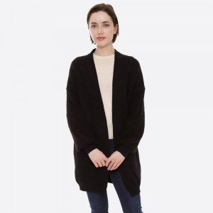 """Solid Knit Cardigan Featuring Terry Cloth Balloon Sleeves & Pockets.  - One size fits most 0-14 - Approximately 32"""" L - 100% Polyester"""