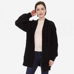 """Solid Chenille Knit Cardigan.  - One size fits most 0-14 - Approximately 31"""" L - 70% Polyester, 30% Polyamide"""