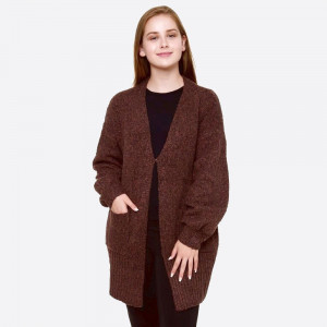 """Two Tone Knit Cardigan with Pockets.  - One size fits most 0-14 - Hook & Eye Closure - Approximately 31"""" L - 100% Polyester"""
