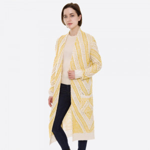"""Long two tone open knit cardigan with pocket details.  - One size fits most 0-14 - Approximately 40"""" L - 100% Acrylic"""
