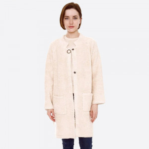 """Terry Loop Cloth Coat Cardigan Featuring Button Closure & Pockets.  - One size fits most 0-14 - Approximately 32"""" L - 80% Acrylic, 20% Polyamide"""