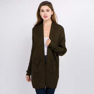 """Solid Color Thin Knit Cardigan Featuring Pockets.  - One size fits most 0-14 - Approximately 29"""" L - 100% Acrylic"""