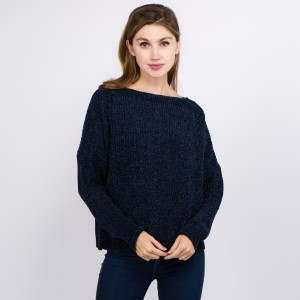 "Solid Chenille Knit Sweater.  - One size fits most 0-14 - Approximately 21"" L - 100% Polyester"