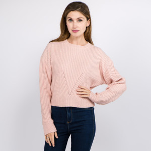 "Solid Heather Knit Crop Sweater.  - One size fits most 0-14 - Approximately 19"" L - 100% Polyester"