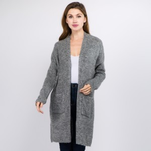 """Solid Soft Knit Cardigan Featuring Pockets.  - One size fits most 0-14 - Approximately 35"""" L - 70% Acrylic, 30% Polyamide, 3% Spandex"""