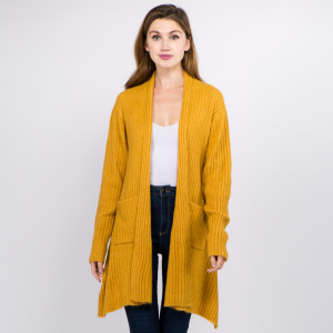 """Solid Color Ribbed Knit Cardigan with Pockets & Shark Bite Hem.  - One size fits most 0-14 - Approximately 25"""" Back Length; Front Hem 33"""" L - 66% Acrylic, 30% Polyester, 4% Spandex"""