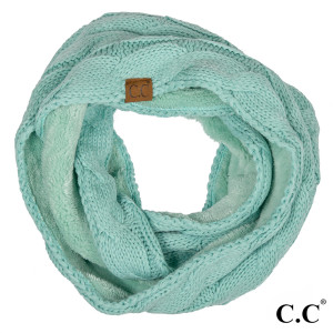"""C.C SF-25 Cable knit infinity scarf with fuzzy lining  - 100% Polyester - One size fits most - W:8"""" X L:61"""""""