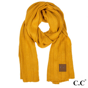 """C.C SF-714 Wide-Ribbed knit oblong scarf  - 100% Acrylic - One size fits most - W:19"""" X L:79"""""""
