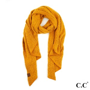 "C.C SF-7006 Bias Cut Scarf Featuring Whipstitch Trim.  - 100% Polyester - Boucle texture - One size fits most - 16.5"" W x 82"" L - Matches C.C HAT-7006 and G-7006"