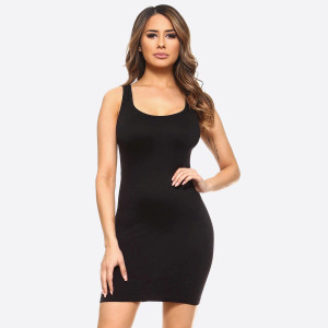 "Solid color seamless tank slip dress.   • Sleeveless  • Scoop neckline  • Fits like a glove  • Soft and stretchy  • Seamless design for comfort  • Short length hem  • Imported   - One size fits most 0-14 - Approximately 28.5"" in length - Composition: 92% Nylon, 8% Spandex"