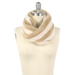"""Faux fur stripe tube scarf.  - Approximately 11.75"""" W x 15.75"""" L - 100% Polyester"""