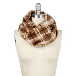 "Faux fur plaid print tube scarf.  - Approximately 11.75"" W x 15.75"" L - 100% Polyester"