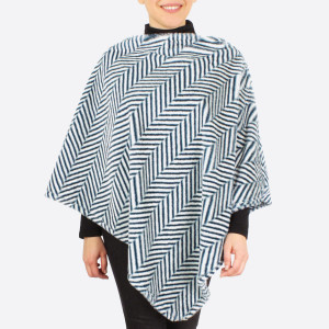 """Faux fur herringbone print poncho.  - One size fits most 0-14 - Approximately 36"""" in length - 100% Polyester"""
