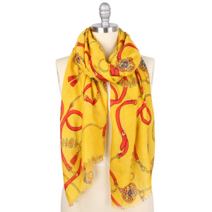 """Lightweight Designer Inspired Chain Print Scarf.  - Approximately 35.5"""" W x 70.5"""" L - 100% Polyester"""