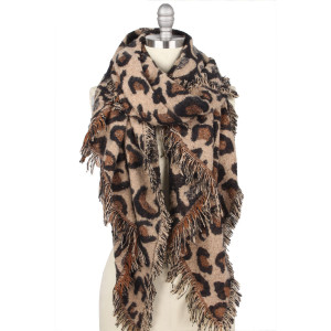 "Leopard Print Bias Cut Shawl/Scarf.  - Approximately 23.5"" W x 70.5"" L - 100% Polyester"