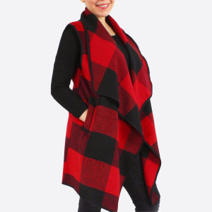 """Buffalo check vest with side pocket details.  - One size fits most 0-14 - Approximately 32"""" in length - 100% Polyester"""