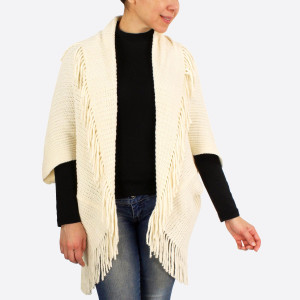 """Chenille Vest/Shrug Featuring Tassel Trim.  - One size fits most 0-14 - Approximately 43"""" L - 100% Polyester"""