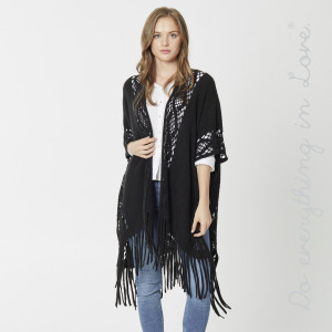 """Do everything in Love Brand Lightweight Open Knit Kimono with Fringe Tassels.  - One size fits most 0-14 - Approximately 36"""" L - 100% Acrylic"""