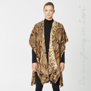 """Do everything in Love Brand Lightweight Snakeskin Kimono.  - One size fits most 0-14 - Approximately 36"""" L - 100% Viscose"""
