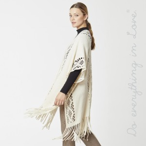 "Do everything in Love Brand Lightweight Open Knit Kimono with Fringe Tassels.  - One size fits most 0-14 - Approximately 36"" L - 100% Acrylic"