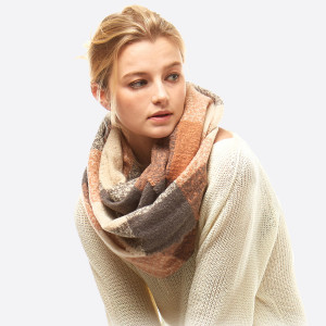 "Soft Touch Boucle Plaid Infinity Scarf.  - Approximately 23"" W x 66"" L - 100% Polyester"