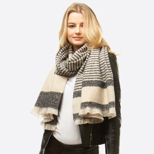"Striped Boucle Knit Oblong Scarf.  - Approximately 24"" W x 79"" L - 100% Polyester"