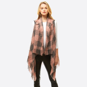 """Soft touch buffalo check vest with fringes.  - One size fits most 0-14 - Approximately 36"""" in length - 100% Acrylic"""