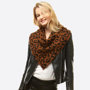 "Leopard Print Knit Scarf/Shawl.  - Front approximately 21"" W x 24"" L - Back approximately 21"" W x 14"" L - 100% Acrylic"