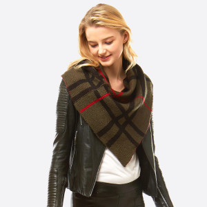 "Plaid Print Knit Scarf/Shawl.  - Front approximately 21"" W x 24"" L - Back approximately 21"" W x 14"" L - 100% Acrylic"