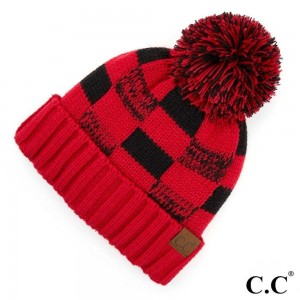 C.C HAT-58 Fuzzy Lined Buffalo Check Game Day Pom Beanie  - One size fits most - 100% Acrylic