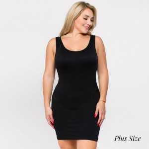 """Women's Plus size seamless tank top slip dress.  • Sleeveless  • Scoop neckline  • Fits like a glove  • Soft and stretchy  • Seamless design for comfort  • Short length hem  • Imported  - One size fits most plus 16-22 - Approximately 28"""" L - 92% Nylon, 8% Spandex"""