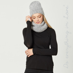 """Do everything in Love brand marled knit tube scarf.   - Approximately 11"""" W x 12.5"""" L - 47% Polyester, 42% Acrylic, 9% Wool and 2% Elastane"""