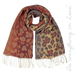 """Do everything in Love Brand Ombre Leopard Print Scarf Featuring Fringe Tassels.  - Approximately 27"""" W x 80"""" L - 65% Acrylic, 35% Polyester"""