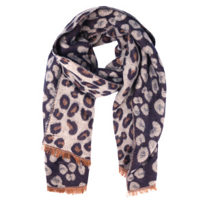 """Do everything in Love Brand Reversible Leopard Print Scarf Featuring Raw Edges.  - Approximately 25"""" W 76"""" L - 90% Acrylic, 10% Polyester"""
