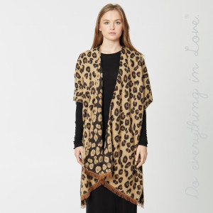 """Do everything in Love Brand Cozy Soft Leopard Print Kimono.  - One size fits most 0-14 - Approximately 36"""" L - 90% Acrylic, 10% Polyester"""