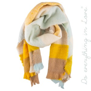 """Do everything in Love Brand Enlarged Plaid Print Scarf.  - Approximately 21.5"""" W x 74"""" L - 100% Polyester"""