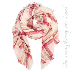 """Do everything in Love Brand Plaid Print Blanket Scarf with Frayed Trim.  - Approximately 55"""" x 55"""" - 100% Acrylic"""