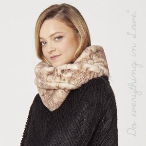 """Do everything in Love Brand Faux Fur Snakeskin Tube Scarf.  - Approximately 8"""" W x 30"""" L - 100% Polyester"""