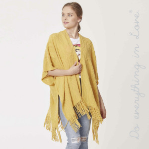 """Do everything in Love Brand Open Knit Kimono with Fringe Tassels.  - One size fits most 0-14 - Approximately 32"""" L - 100% Acrylic"""