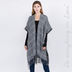 """Do everything in Love Brand Plaid Print Kimono with Fringe Tassels.  - One size fits most 0-14 - Approximately 39"""" in L - 100% Acrylic"""