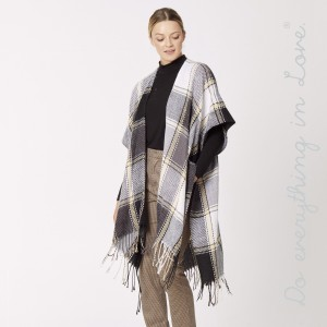 """Do everything in Love Brand Plaid Check Kimono with Fringe Tassels.  - One size fits most 0-14 - Approximately 39"""" L - 100% Acrylic"""