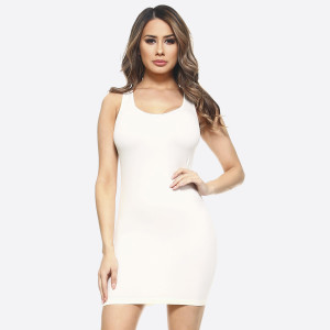 """Solid color seamless tank slip dress.   • Sleeveless  • Scoop neckline  • Curve-Hugging • Body Contouring • Soft and stretchy  • Seamless design for comfort  • Short length hem  • Imported   - One size fits most 0-14 - Approximately 28.5"""" in length - Composition: 92% Nylon, 8% Spandex"""