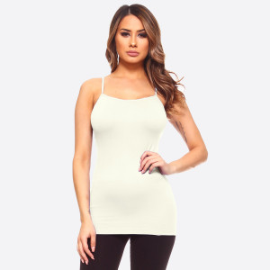 """Women's Solid Color Seamless Camisole.  • Spaghetti straps  • Seamless design for extra comfort  • Longline hem  • Soft and stretchy  • Curve-Hugging • Body Contouring  • Perfect for layering under sheer tops or by itself  • Imported   - One size fits most 0-14 - Approximately 18"""" L - 92% Nylon / 8% Spandex"""