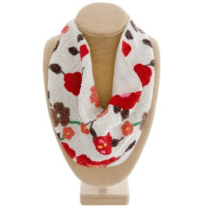 """High Quality Seed Beaded Floral Print Scarf Necklace.  - Heavyweight  - Button closure - Approximately 12.5"""" W x 10"""" L - Approximately 25"""" in diameter - Lining 100% Cotton  - 75% Seed beads, 20% Cotton, 5% Acrylic stone"""