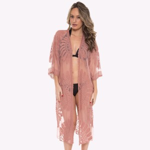 "Women's Mesh Crochet Maxi Kimono.  - One size fits most 0-14 - Approximately 43"" L - 100% Viscose"