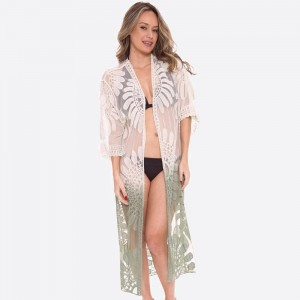 """Women's ombre mesh lace maxi kimono.  - One size fits most 0-14 - Approximately 43"""" L - 100% Polyester"""