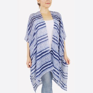 """Women's lightweight navy blue geometric kimono.  - One size fits most 0-14 - Approximately 37"""" L - 100% Polyester"""