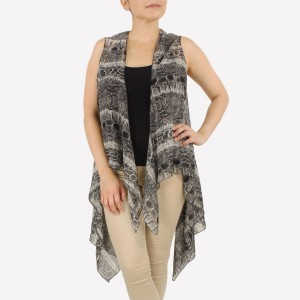 """Women's Lightweight Sheer Snakeskin Vest.  - One size fits most 0-14 - Approximately 37"""" L - 100% Polyester"""