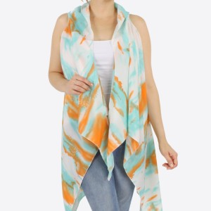 "Women's lightweight brushed tie-dye vest kimono.  - One size fits most 0-14 - Approximately 37"" L - 100% Polyester"