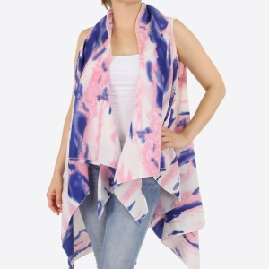 "Women's lightweight brushed tie-dye vest kimono.  - One size fits most 0-14 - Approximately 37"" L - 100% Polyester"